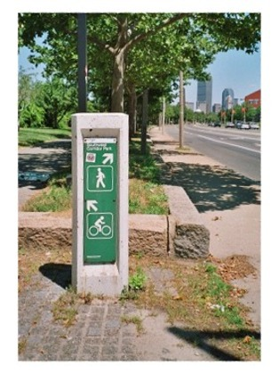 Bicycle and walking path sign