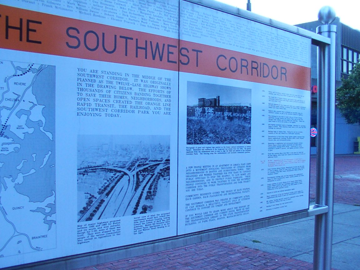 Sign near Roxbury Crossing MBTA station details history of the park
