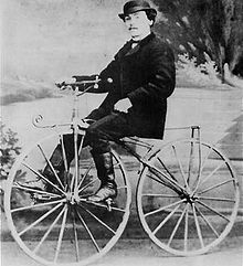 Photo of Pierre Lallement on his bicycle